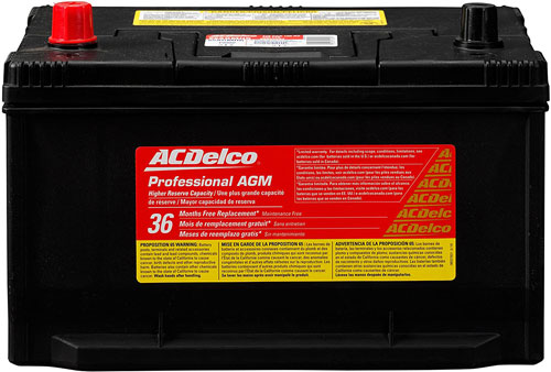 ACDelco 65AGHMR Professional AGM Automotive 65 Battery